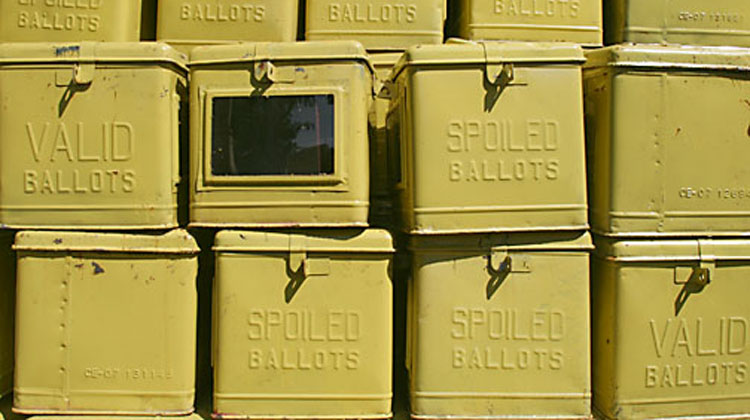 Ballot boxes used in elections