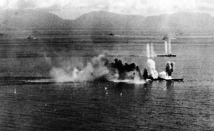 Battleship Musashi under fire