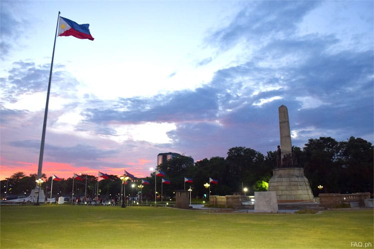 Rizal Monument and the Independence flagpole