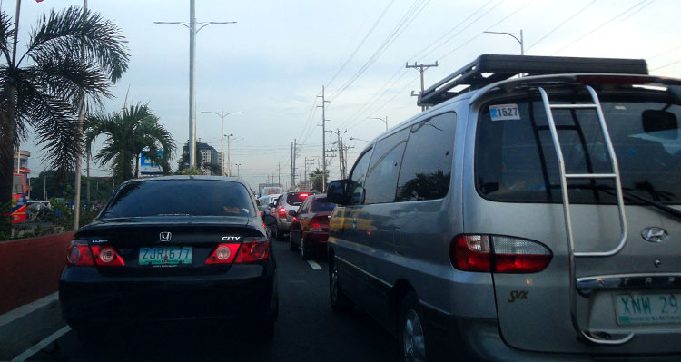 stuck in traffic in Metro Manila