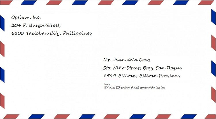 how to write a postcard address area