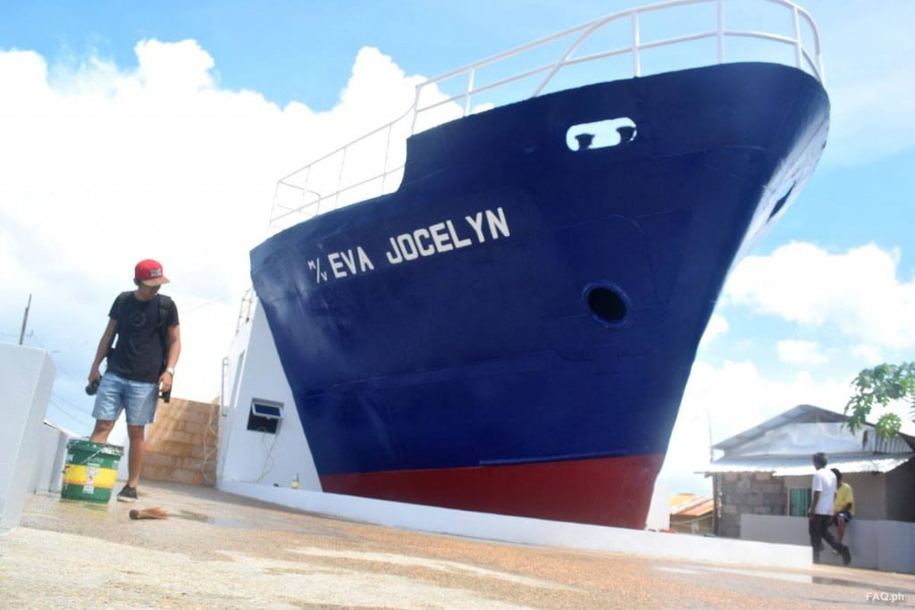 M/V Eva Jocelyn, one of the cargo vessels washed ashore during the storm surge
