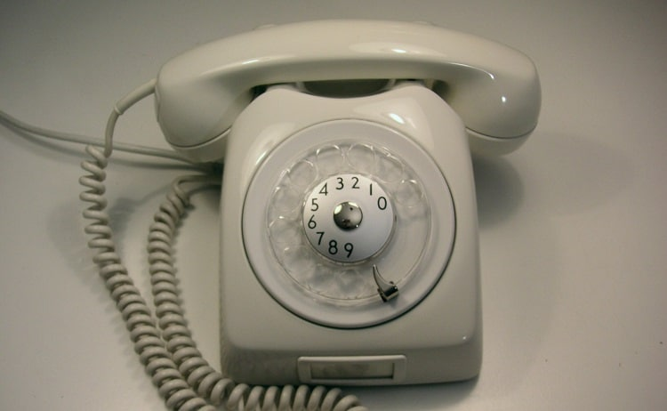 A rotary dial telephone, made in 1966.