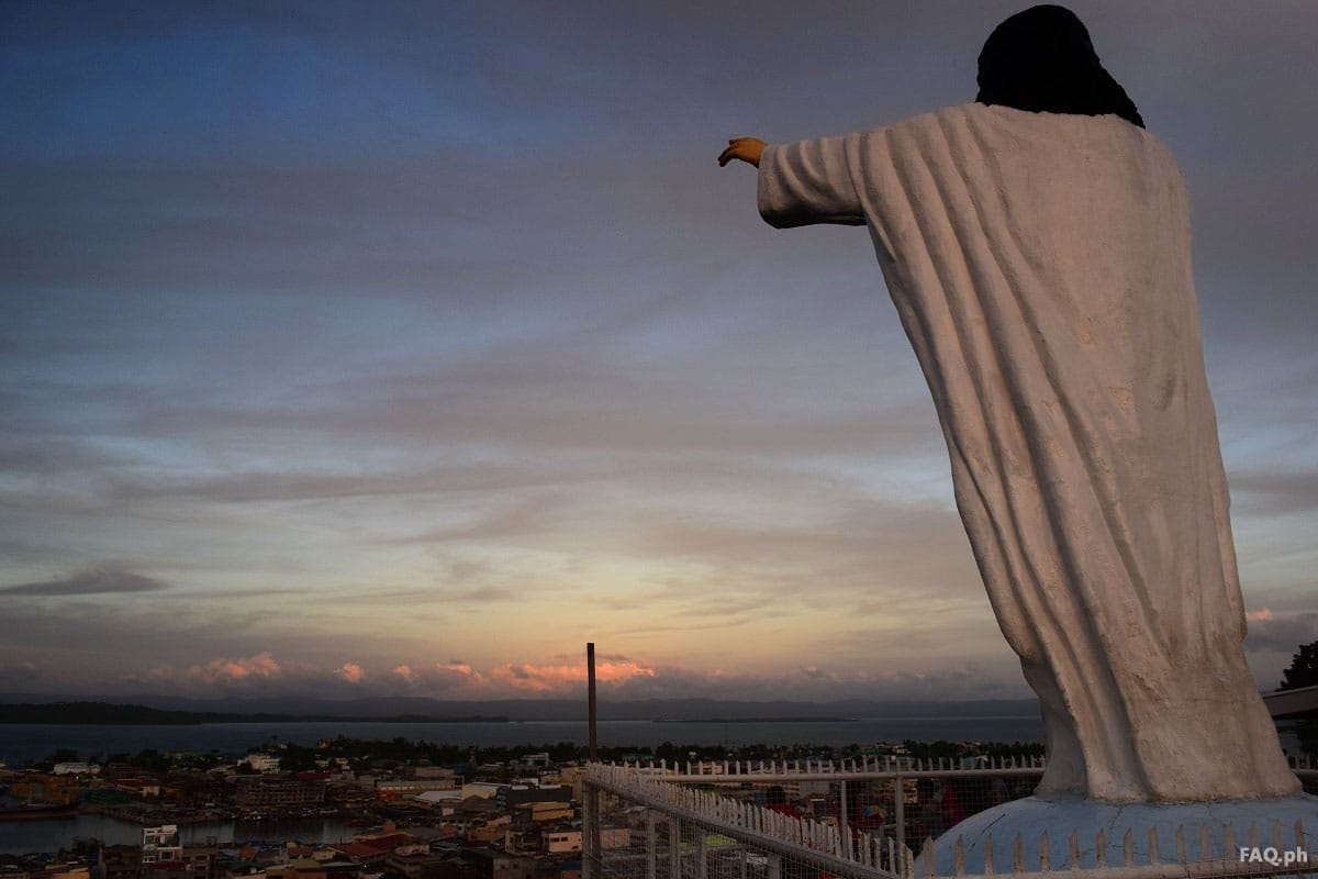 The statue of Christ facing Tacloban City from the above